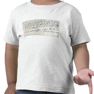 Letra escrita por Handel junio de 1716 Camiseta