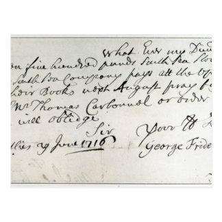 Letra escrita por Handel, junio de 1716 Postal