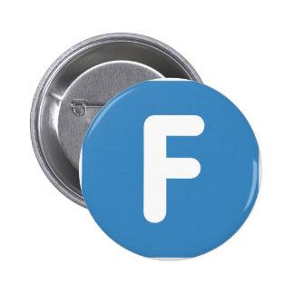 Letra F - gorjeo del emoji Chapa Redonda 5 Cm
