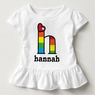Letra h de la camisa del arco iris de los chicas