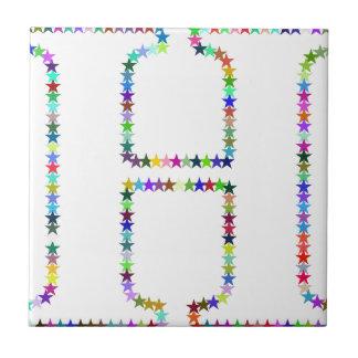 Letra H de la estrella del arco iris Azulejo De Cerámica