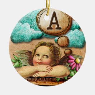 letra inicial A de la querube del ángel de las ilu Adorno Para Reyes