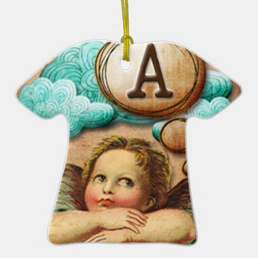 letra inicial A de la querube del ángel de las ilu Ornamento Para Arbol De Navidad