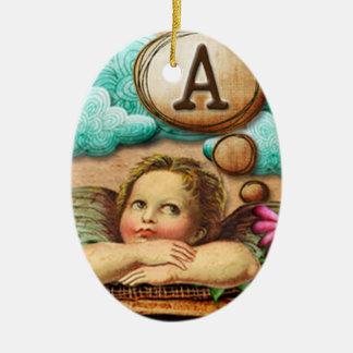 letra inicial A de la querube del ángel de las ilu Ornamentos De Reyes