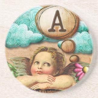 letra inicial A de la querube del ángel de las ilu Posavasos Personalizados