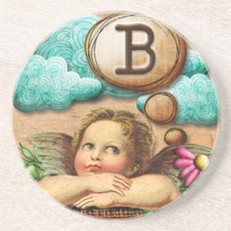 letra inicial B de la querube del ángel de las ilu Posavasos Para Bebidas