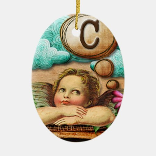 letra inicial C de la querube del ángel de las ilu Ornamento Para Arbol De Navidad