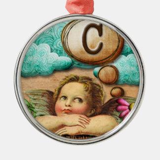 letra inicial C de la querube del ángel de las ilu Ornamentos De Reyes Magos
