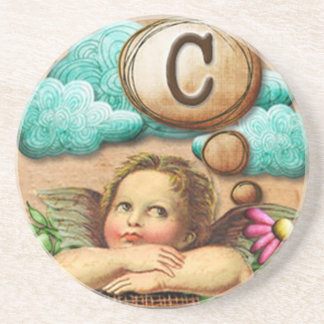 letra inicial C de la querube del ángel de las ilu Posavasos Personalizados