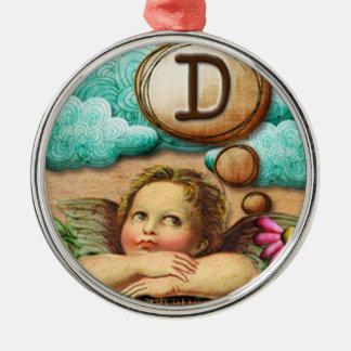 letra inicial D de la querube del ángel de las ilu Ornamentos De Navidad