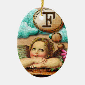 letra inicial F de la querube del ángel de las ilu Adornos De Navidad
