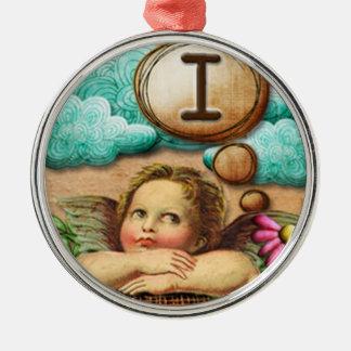 letra inicial I de la querube del ángel de las ilu Ornamentos De Reyes Magos