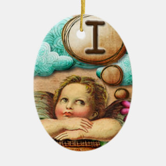 letra inicial I de la querube del ángel de las ilu Ornamentos Para Reyes Magos