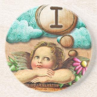 letra inicial I de la querube del ángel de las ilu Posavasos Diseño