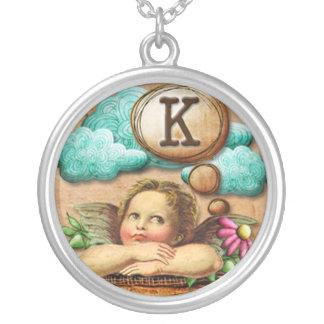 letra inicial K de la querube del ángel de las ilu Colgante Personalizado
