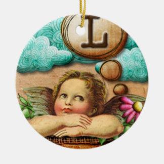 letra inicial L de la querube del ángel de las ilu Ornamentos Para Reyes Magos
