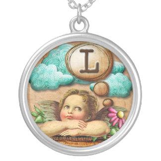 letra inicial L de la querube del ángel de las ilu Collar Plateado