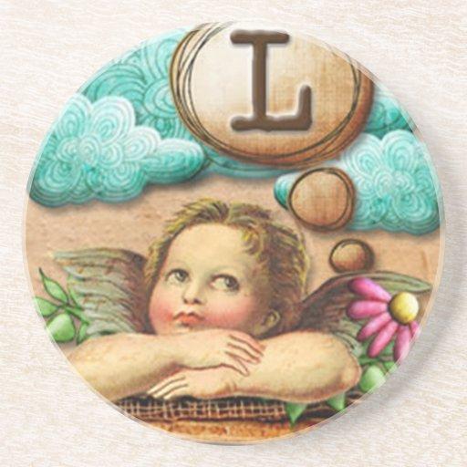 letra inicial L de la querube del ángel de las ilu Posavasos Personalizados