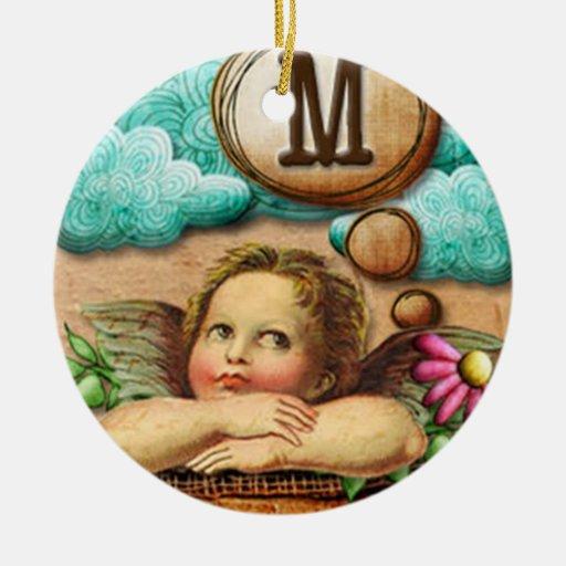 letra inicial M de la querube del ángel de las ilu Ornamento Para Reyes Magos