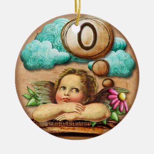 letra inicial O de la querube del ángel de las ilu Adorno De Navidad