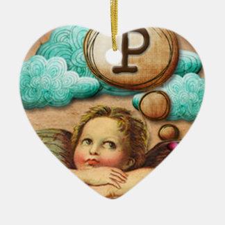 letra inicial P de la querube del ángel de las ilu Ornamento De Reyes Magos