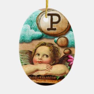 letra inicial P de la querube del ángel de las ilu Ornamentos De Reyes