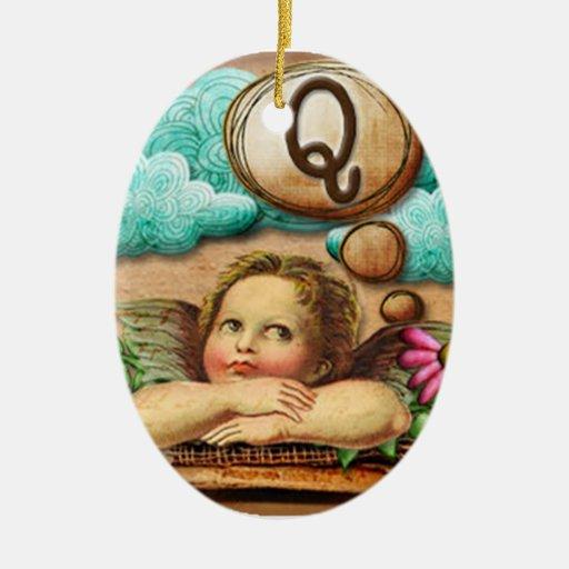 letra inicial Q de la querube del ángel de las ilu Adornos De Navidad