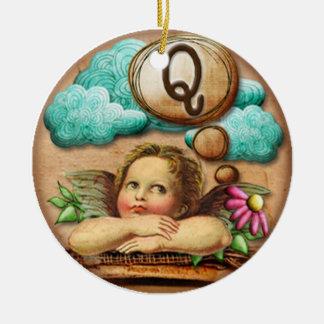 letra inicial Q de la querube del ángel de las ilu Adorno Para Reyes