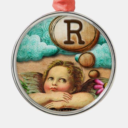 letra inicial R de la querube del ángel de las ilu Ornamento De Navidad
