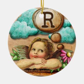 letra inicial R de la querube del ángel de las ilu Ornamentos Para Reyes Magos