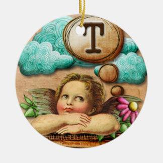 letra inicial T de la querube del ángel de las ilu Adornos De Navidad