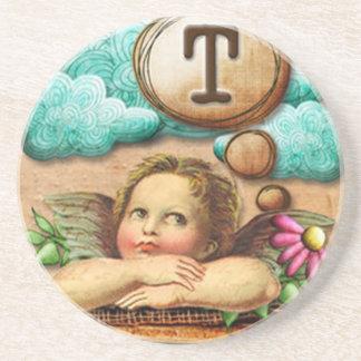 letra inicial T de la querube del ángel de las ilu Posavasos Para Bebidas