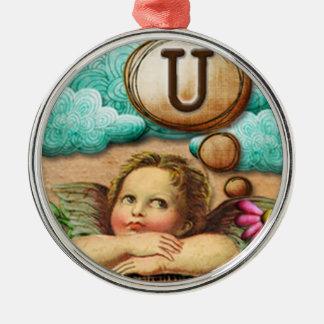 letra inicial U de la querube del ángel de las ilu Adorno De Navidad