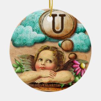 letra inicial U de la querube del ángel de las ilu Ornamento Para Reyes Magos