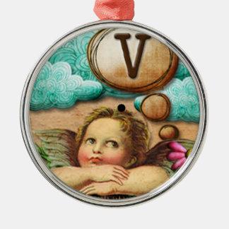 letra inicial V de la querube del ángel de las ilu Ornaments Para Arbol De Navidad