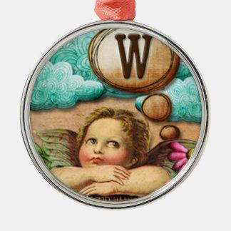 letra inicial W de la querube del ángel de las ilu Ornamento De Reyes Magos