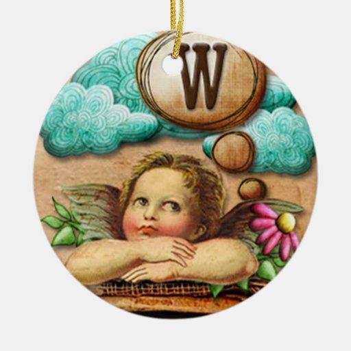 letra inicial W de la querube del ángel de las ilu Ornamento Para Arbol De Navidad