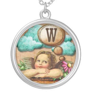letra inicial W de la querube del ángel de las ilu Pendiente Personalizado