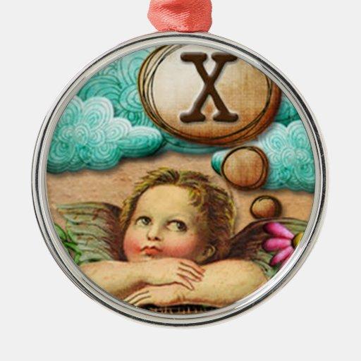 letra inicial X de la querube del ángel de las ilu Adorno