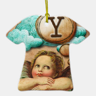 letra inicial Y de la querube del ángel de las ilu Ornamentos De Navidad