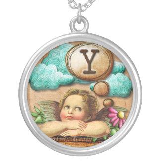 letra inicial Y de la querube del ángel de las ilu Pendiente Personalizado