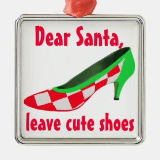 Letra linda de los zapatos a Papá Noel Adorno Cuadrado Plateado