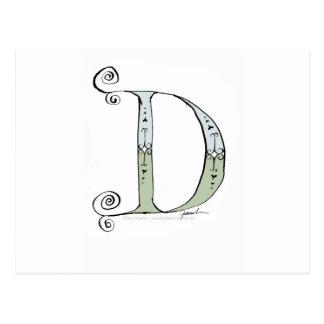 Letra mágica D del diseño tony de los fernandes Postal