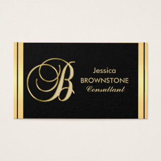 Letra negra 'B del oro con monograma elegante de Tarjeta De Visita