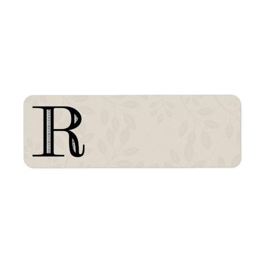 Letra R - negro del damasco Etiqueta De Remitente