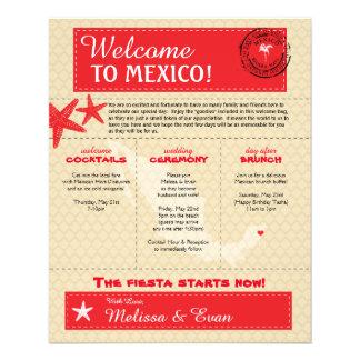 Letra roja de la recepción del boda de México del Folleto 11,4 X 14,2 Cm