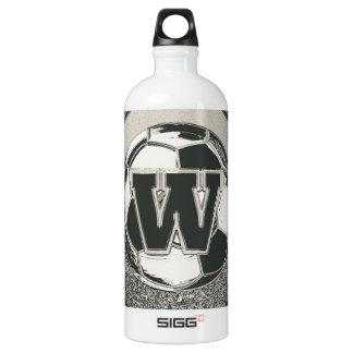 Letra W del monograma del fútbol del medallista de Botella De Agua