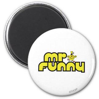 Letras amarillas de Sr. Funny el | Imán Redondo 5 Cm