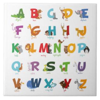 Letras animales ilustradas coloridas del alfabeto azulejo de cerámica