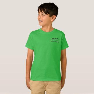 Letras blancas del verde de la camiseta con la
